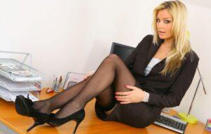 seksi plava sekretarica